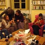 Soirée tricot en hiver